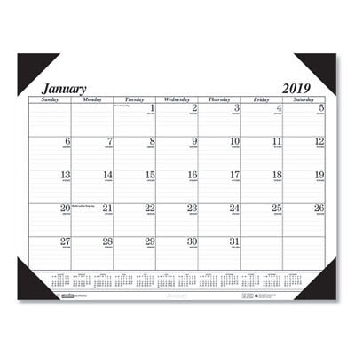 Recycled Workstation-Size One-Color Monthly Desk Pad Calendar, 18 1/2 x 13, 2019