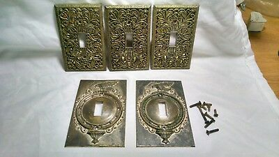 VINTAGE LOOKING ANTIQUE BRASS? SINGLE LIGHT SWITCH PLATE OUTLET COVERS Set Of 5