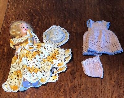 Vintage Sleepy Eye Doll W/Yellow Pink Hat Outfits! Hand Crocheted