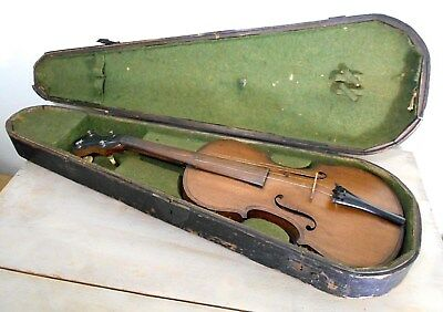 ANTIQUE WOOD COFFIN STYLE VIOLIN CASE with FULL SIZE VIOLIN