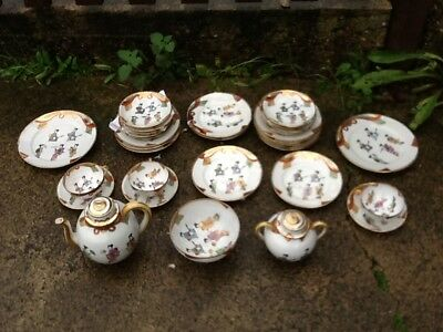 Antique c1920 Japanese Maruni Tea Set Decorated with Geisha's 32 Pieces W@W!