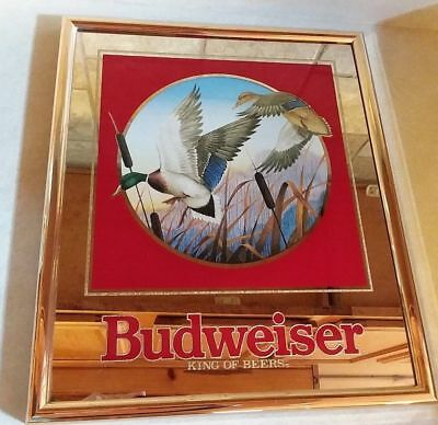 Budweiser Beer Mirror Sign - Mallard Duck (1992)
