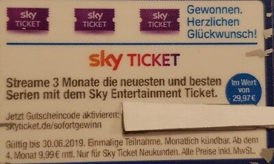 Sky Entertainment Ticket 3 Monate Gutschein 4 Blocks Serien Wert 30€