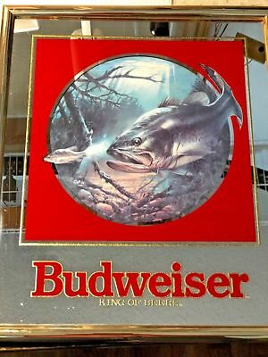 Budweiser Beer Mirror Sign - Large Mouth Bass (1992)