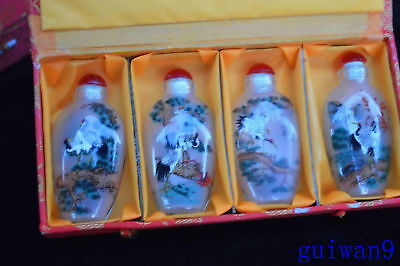 Collection Chinese Old Ancient Glass Inner Paint Crane Pine Tree Snuff Bottle