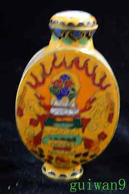 Collectable Cloisonne Paint Ancient King Palace Old Art Royal Tibet Snuff Bottle
