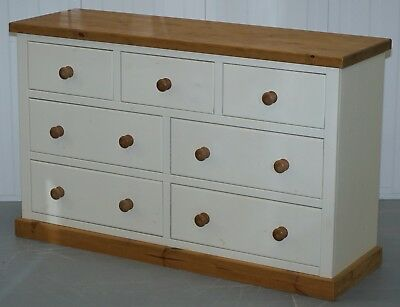 New Restored Solid Hand Crafted Pine Bank / Chest Of Drawers Sideboard Farmouse