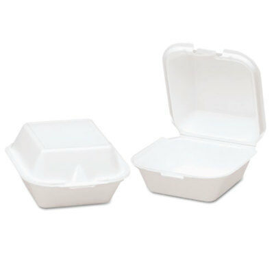 Snap-It Foam Hinged Sandwich Container, 5-4/5x5-2/3x3-1/8, White, 125/Bag, 4/CT