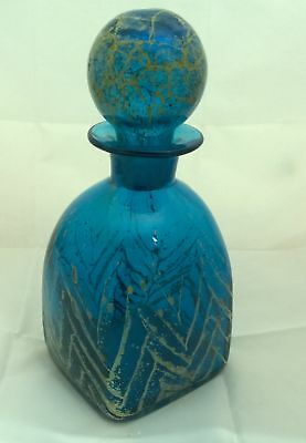 Mdina Glass Decanter With Stopper Blue With yellow Speckles #259