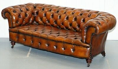 Restored Victorian 1890 Cornelius V Smith Stamp Chesterfield Leather Sofa Brown