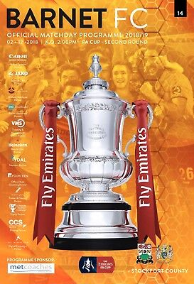 Barnet v Stockport County FA Cup 2nd Round Full Printed Match Programme 2/12/18