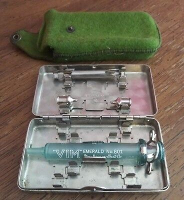 Antique Glass Syringe In German Silver Case Pat. Date Oct 22, 1901