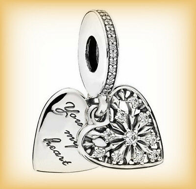 Genuine PANDORA HEART OF WINTER PENDANT CHARM 796372CZ Sterling Silver S925 ALE