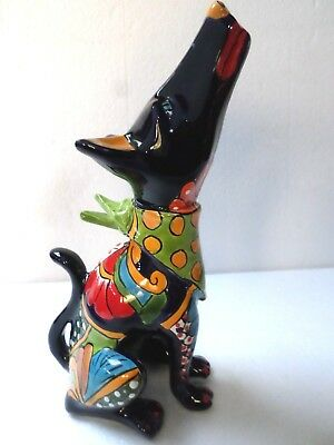 Mexican Folk Art Talavera Pottery Ceramic Animal Howling Coyote Dog Figure 13""