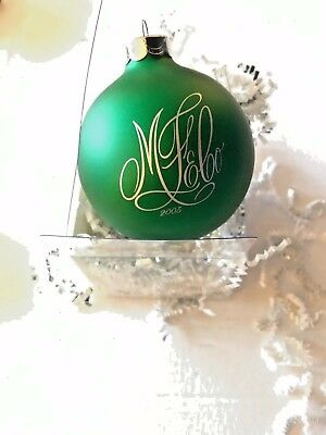 Marshall Field  Dept store Christmas ornament  green round ball with monogram