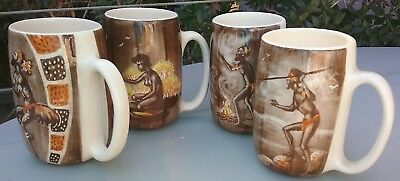Set 4 Gymea Pottery Mugs Rita Chin Aboriginal #1