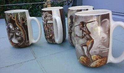 Set 4 Gymea Pottery Mugs Rita Chin Aboriginal #2