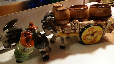 DONKEY MULE 2 SETS 8 PIECE Salt And Pepper Vintage Shakers Japan w  CARRIAGE