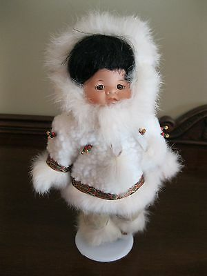 HERITAGE PORCELAIN ESKIMO DOLL ON STAND by INDIAN ARTS & CRAFTS
