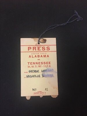 Rare 1967 Crimson Tide Vs Tennessee Volunteers Football Press Pass G66