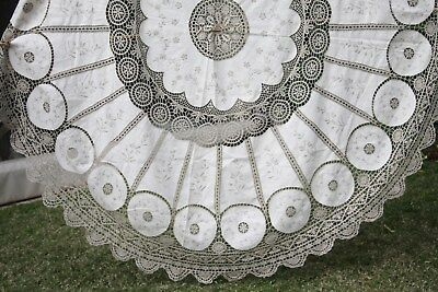 GORGEOUS VINTAGE PEACOCK CROCHET COTTON EMBROIDERED LACE 160cm ROUND TABLECLOTH