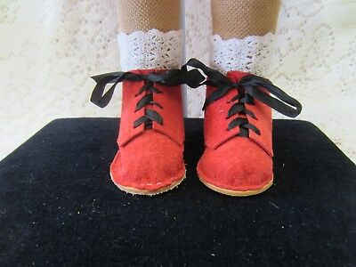 Sasha Studio Sized Doll Boots, Handmade, Real Leather, Red Suede Reproductions