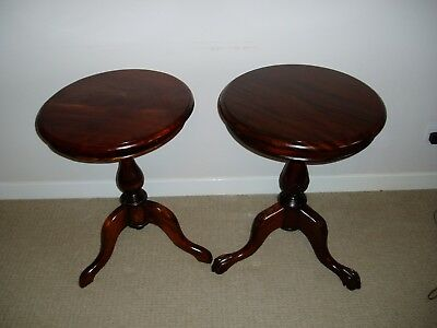 Solid Mahogany Round Wine Table / Side Table Antique Reproduction