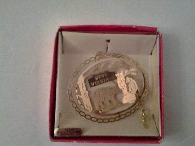 West Virginia Nation's Treasures 24K Gold Flashed Brass Souvenir Ornament w/Box