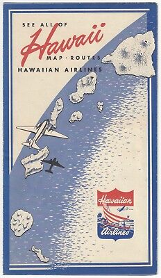 1930's Hawaiian Airlines Advertising Brochure - Map, Routes, Destinations & More