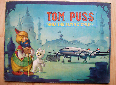 "1953 Marten Toonder TOM PUSS and the FLYING CALIPH ""KLM AIRLINES"" CHILDRENS BOOK"