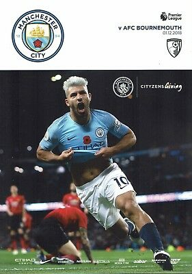 Manchester City v Bournemouth Official Matchday Programme 2018/19 1/12/2018