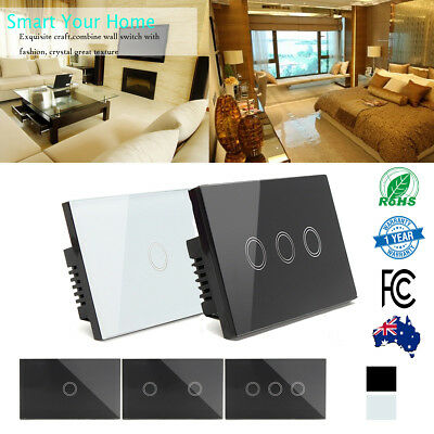 Standard Wall Touch Light Switch LED Sensor 1, 2, 3 GANG Dimmer GPO 1 Way OZ