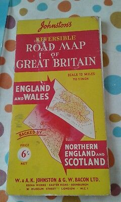 johnstons Reversible Road Map of Great Britain (vintage)