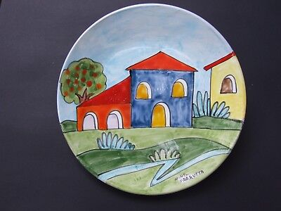 Vintage  Nino Parrucca Italian Colorful Wall Plate Siigned