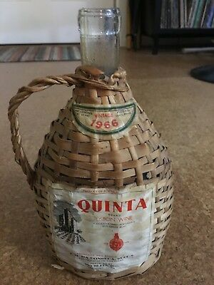Vintage 1966 QUINTA Brand Lisbon Wine Wicker Covered  Bottle Portugal
