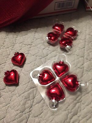 Christmas Valentine's Day Glass Old World Style Heart Ornaments