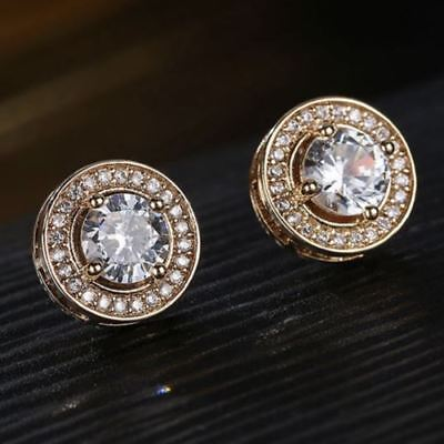 1.5 Ct White AAA Moissanite with Diamond Halo Stud Earrings 14K Rose Gold Plated
