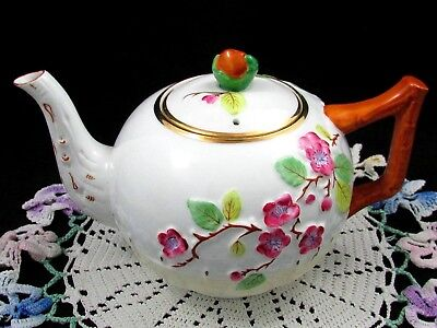 Royal Stafford Blossom Pattern Raised Floral Basket Weave Small Teapot