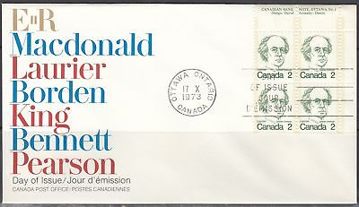 Canada Scott 587 UR Pl Blk FDC - 1973-76 Caricature Issue, Laurier