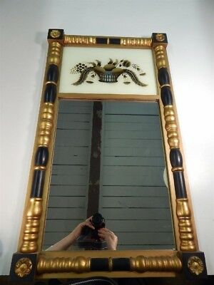 Lambert Hitchcock Painted Giltwood Still Life E'glomise Trumeau Wall Mirror