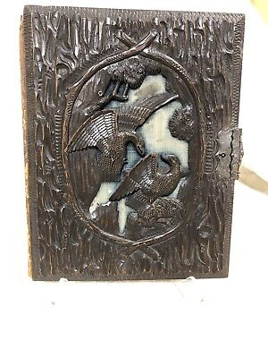 French Antique Black Forest Dragon Hand Carved Cover Stationary Book