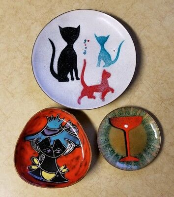 Mid Century Enamel Dishes Cats Cocktail Glass Abstract Lady In Hat Are Bovano
