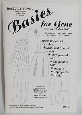 UNCUT DOLL CLOTHES SEWING PATTERN ~ Basics For Gene Marshall BASIC BOTTOMS 2