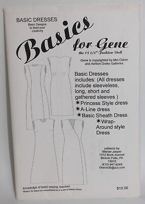 UNCUT DOLL CLOTHES SEWING PATTERN ~ Basics For Gene Marshall BASIC DRESSES