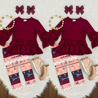 Casual Kids Baby Girl Toddler Outfit Clothes T-shirt Top Dress+Long Pants Set US