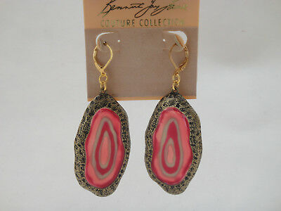 "Kenneth Jay Lane Couture Coll. HAMMERED GOLDTONE ""STONE"" RESIN EARRINGS, Papaya"