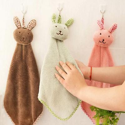Cartoon Animal Nursery Hand Towel Soft Plush Fabric Hanging Wipe Bathing LI