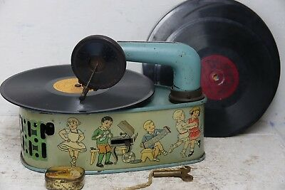 Charming Old Childrens Tinplate Wind Up Gramophone With Records - Very Rare Hmv