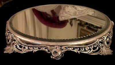 Antique Beveled Mirror Ornate Silver-plated Roses Plateau Perfume Display Large