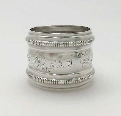 """Beautiful Victorian Antique Engraved Beaded Sterling Silver Napkin Ring """"SJW"""""""
